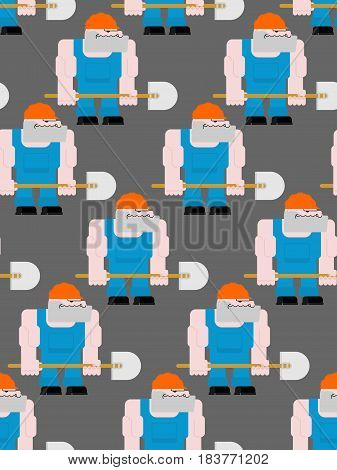 Worker With Shovel Seamless Pattern. Road Workman In Helmet And Overalls