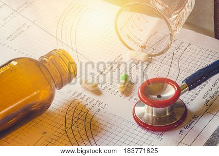 Medical Treatment Concept. Medical Chart Patient Follow Up Diagnosis Analysis With Stethoscope For D
