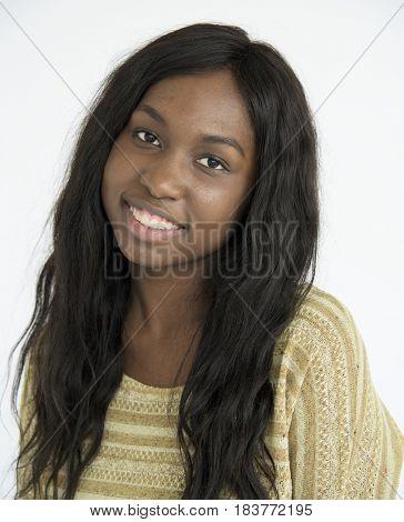 Black girl smiling positive portrait