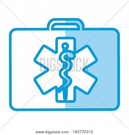 blue shading silhouette firts aid kit with symbol star of life vector illustration