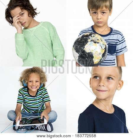 Young Boys Kids Enjoyment Happiness Fun Studio Portrait Collage