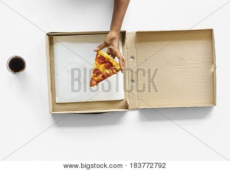 Hand Taking Last Slice of Pizza from Delivery Box