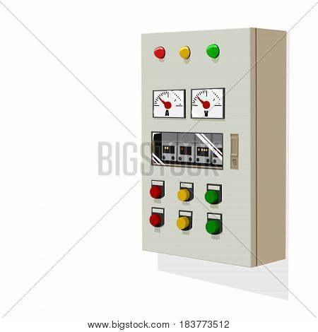 An isolated control panel on white wall