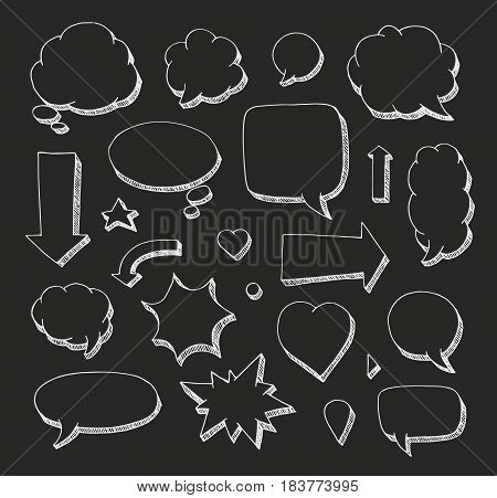 Hand drawn set of speech bubbles and arrows. White print on black background