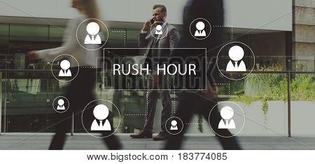 Rush Hour Crowded Metropolitan Traffic