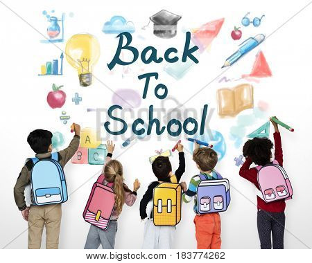 Kids Back To School Education Study Graphic