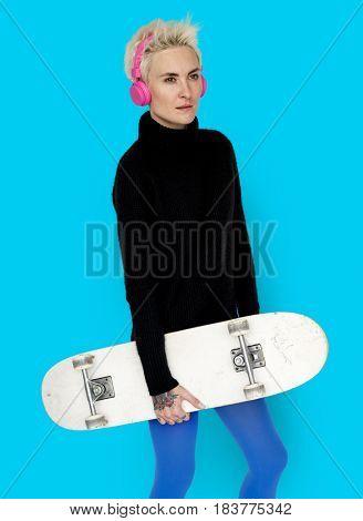 Woman Headphone Skateboard lifestyle Concept