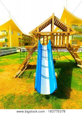 Sharm El Sheikh, Egypt - April 9, 2017: The view Children's playground and slides at luxury hotel Barcelo Tiran Sharm 5 stars at day with blue sky at Sharm El Sheikh, Egypt on April 9, 2017