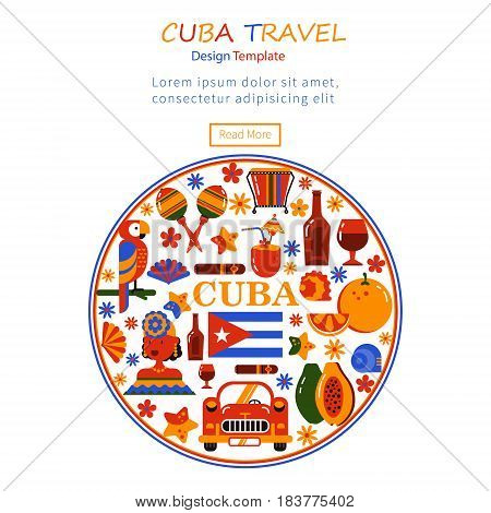 Commercial illustration. The tourism banner. Cuba. Havana. Flat icons of Cuban culture and food. Design in the shape of a circle. There is a place for text.