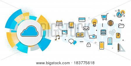 Flat line vector design concept of saving cloud service backup download network server digital information online data storage banner for website header & landing page in circles digital element