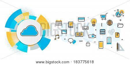 Flat line vector design concept of saving cloud service backup download network server digital information online data storage banner for website header & landing page in circles digital element