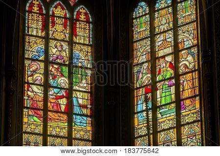 AMSTERDAM, NETHERLANDS - MARCH 30, 2017 Christ Stories Raising Dead Christ As A Boy Stained Glass De Krijtberg Church Amsterdam Holland Netherlands.