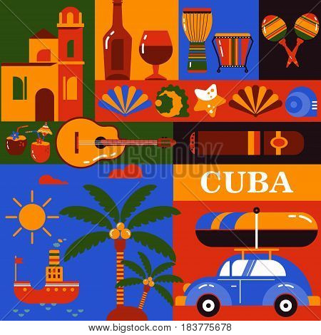 Cube illustration. Collection of vector icons of Cuban culture and food.