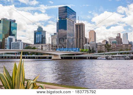 Brisbane inner city and skyline from Southbank gardens Brisbane Australia