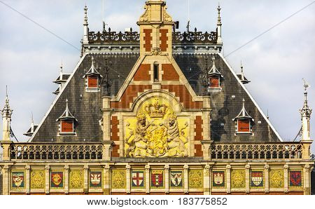 Dutch Coat of Arms Royal Palace Town Hall Amsterdam Holland Netherlands. Opened up as a train station in 1889. Town hall in 1655. 162000 go through the train station today.