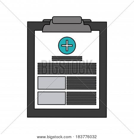 color graphic table notepad medical with sheets and text vector illustration