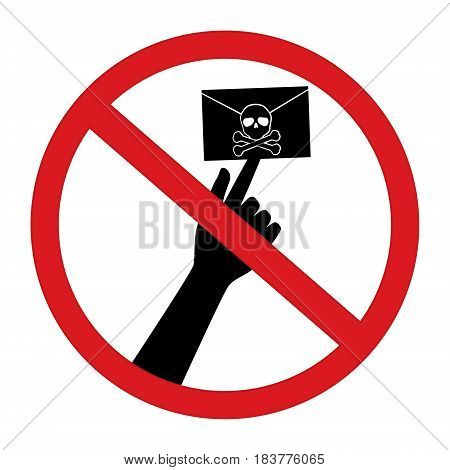 No click opne spam email with skull and cross bones computer virus in restrict sign isolated on white background. Vector illustration prohibited circle design.