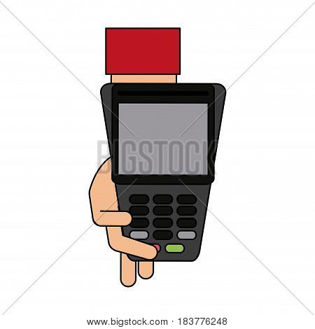 color graphic hand holding a dataphone digital device vector illustration