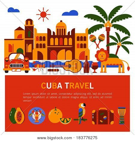 Commercial illustration. Travel banner. Cuba. Havana. Flat icons of Cuban culture and food. There is a place for text.