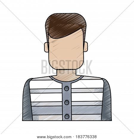 color blurred stripe of faceless man prisoner with uniform vector illustration