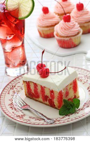 homemade cherry poke cake, cherry cupcake and shirley temple cocktail