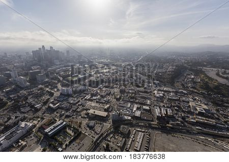 Aerial view of Chinatown and Downtown Los Angeles in Southern California.