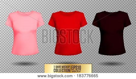T-shirt template set for men and women, realistic gradient mesh vector eps10 illustration. Pink red and vinous colors.