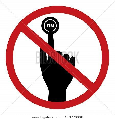 Do not press on button. Vector illustration prohibited circle design.