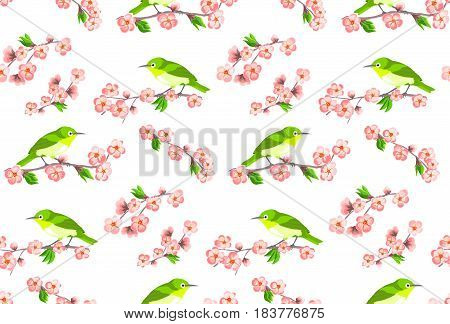 Japanese seamless pattern with sakura flowers and green birds on white background.