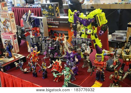 KUALA LUMPUR, MALAYSIA -MARCH 18, 2017: Transformers television cartoon and film action figure display on table.