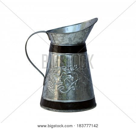 Antique zinc  metal pitcher isolated on white background