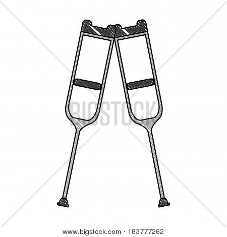 color pencil pair of medical crutches icon vector illustration