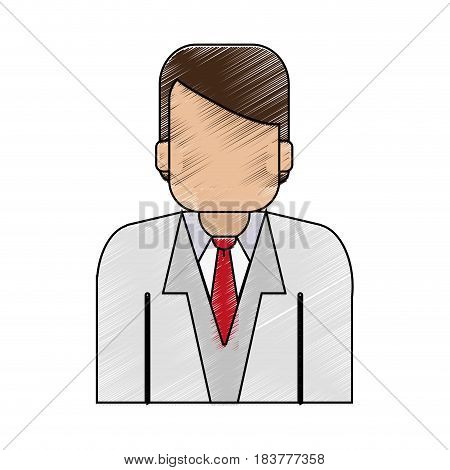 color pencil half body faceless man with executive suit vector illustration