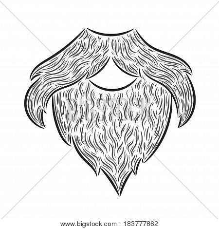 Hand drawn illustration beard moustache man. Idea for a t-shirt poster signs.