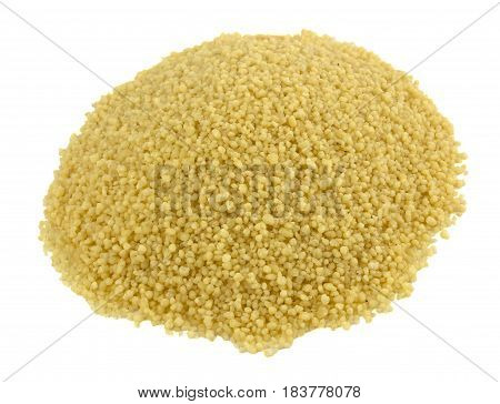 raw couscous closeup isolated white, tasty, natural, top view
