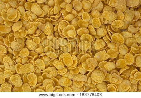 background of goldish corn flakes, tasty, natural, top view