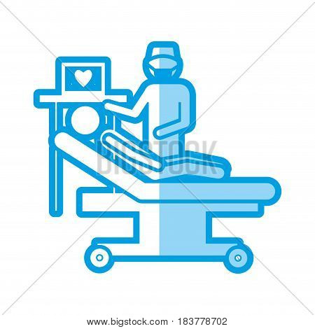 blue shading silhouette with pictogram person with cardiologist vector illustration