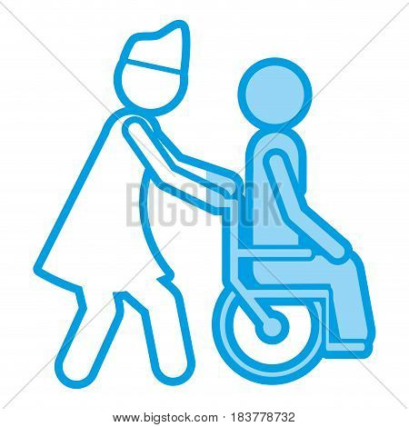 blue shading silhouette with nurse helping another person push a wheelchair vector illustration