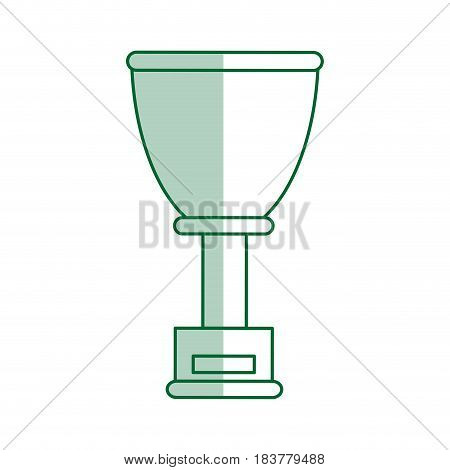 green silhouette shading cup trophy with plaque vector illustration