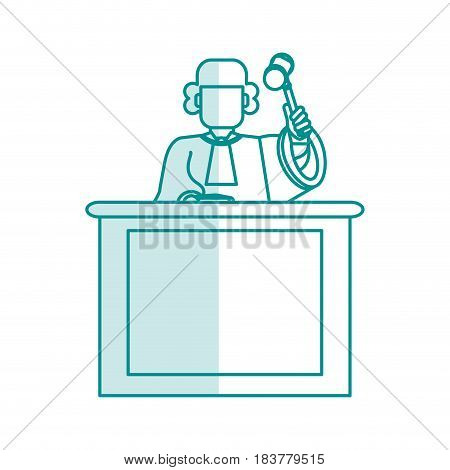 blue silhouette shading judge in law courts with hammer vector illustration