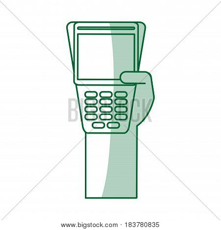 green silhouette shading hand holding a dataphone digital device vector illustration