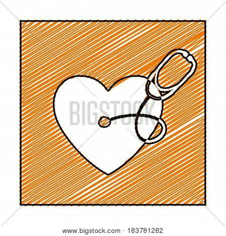 color pencil drawing square frame with heart and stethoscope vector illustration