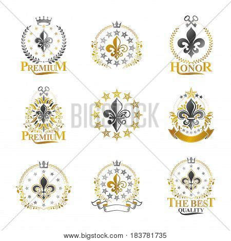 Royal symbols Lily Flowers emblems set. Heraldic vector design elements collection. Retro style label heraldry logo.