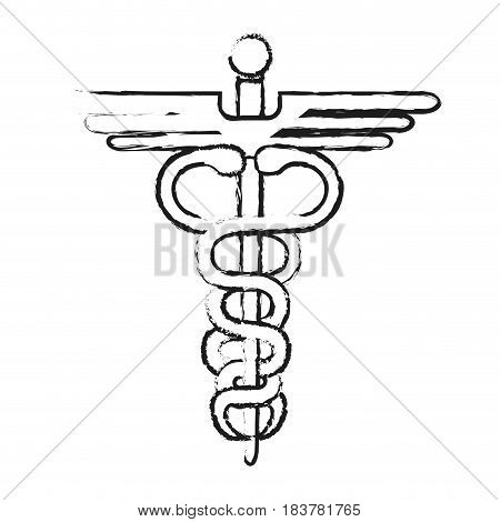 blurred silhouette health symbol with serpent entwined vector illustration