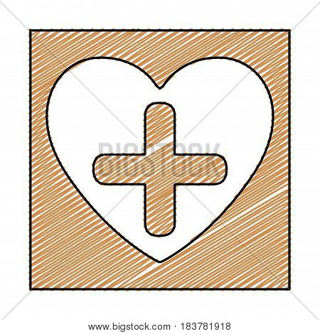 color pencil drawing square frame with heart and cross vector illustration