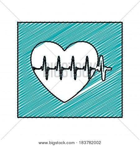 color pencil drawing square frame with heartbeat vector illustration