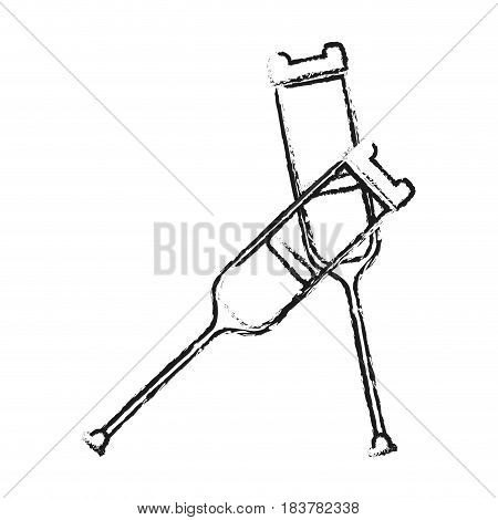 blurred silhouette pair of medical crutches icon vector illustration