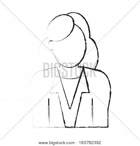 blurred silhouette half body faceless woman with executive suit vector illustration