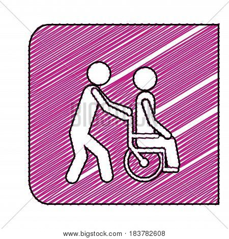 color pencil drawing square frame with person helping another push a wheelchair vector illustration