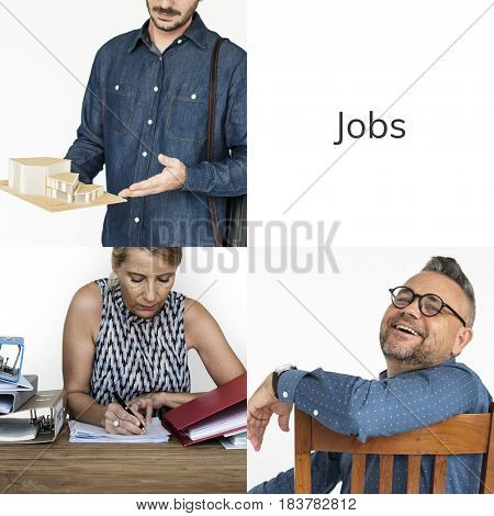 Collage of people job occupation mixed